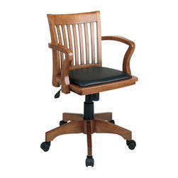 Office Star - Wood Bankers Desk Chair w Black Vinyl Seat - You'll enjoy superior comfort and classic style with this bankers desk chair. Crafted from solid wood and appointed with a black vinyl seat, it's a wonderful addition to any office space. The chair gives you customized positioning thanks to locking tilt control and adjustable tilt tension. Pneumatic seat height adjustment. Locking tilt control with adjustable tilt tension. Finish: (fw-3) medium fruitwood, black vinyl. Wood covered steel base with dual wheel carpet casters. Seat height: Max. 21.75, Min. 18.25. Seat dimensions: 20.5 in. W x 17.5 in. D x 1 in. T. Back dimensions: 18.5 in. W x 17.25 in. x 1 in. T