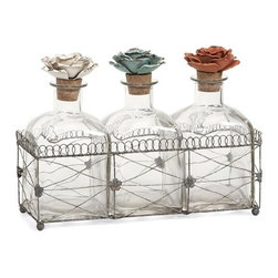 """IMAX - Harvey Glass Bottles and Tray - While these glass bottles in a wire tray emit beauty, the fantastic metal rose finials help to create this elegant set of decorative bottles. Item Dimensions: (8""""h x 4.25""""w x 11.25)"""