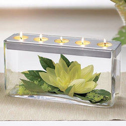 "DECORATING WITH CANDLES - Customizable Tealight Centerpiece-A metal tealight tray sits elegantly atop hand-blown glass displaying your own treasures like seashells, flowers, or colored marbles. Arrange the contents of this beautiful centerpiece to match your home's décor. Customize for each season or special occasion. 6""h, 11¾""w. Tealights sold separately."