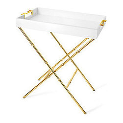 Greek Key Handle Tray and Stand - If you are looking for an affordable alternative to a bar cart, this Greek key and bamboo tray and stand is for you. Reminiscent of the Hollywood Regency style, the gold bamboo detail is lovely.