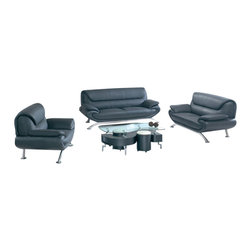 American Eagle Furniture - 7040 Black Bonded Leather Three Piece Sofa Set - The 7040 sofa set will be a great addition for any living room that needs a touch of today's modern style. This sofa set comes upholstered in a stunning black bonded leather on the front where your body touches. Carefully chosen match material is used on the back and sides where contact is minimal. High density foam is placed within each piece for added comfort. The sofa set features a unique over lapped design that adds to the overall look. Attached to the bottom of each piece are brushed stainless steel legs. The sofa set shown includes a sofa, loveseat, and chair only. The coffee table shown is NOT included.