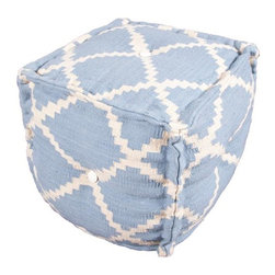 Jaipur - Jaipur Cadiz Seville Pouf- Sky Blue - Color: Sky blue/IvoryConstruction: PoufsStyle: TransitionalFiber: Hand carded WoolOrigin: India