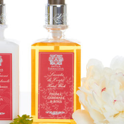 Peonia, Gardenia and Rosia Hand Wash 10 oz. - The wholesome and enjoyable notes to be found in classic garden flowers are the feature of Peonia, Gardenia, and Rosa Hand Wash.  Made with silk extracts so that the lather is rich and luscious, and infused with almond oil so it's moisturizing and lightweight, this pink-hued, wonderfully-scented liquid hand soap is packaged attractively in a simple pump bottle for keeping on the sink.