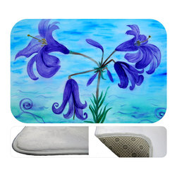 "usa - Lillies Bath Mat,  30"" X 20"" - Bath mats from my original art and designs. Super soft plush fabric with a non skid backing. Eco friendly water base dyes that will not fade or alter the texture of the fabric. Washable 100 % polyester and mold resistant. Great for the bath room or anywhere in the home. At 1/2 inch thick our mats are softer and more plush than the typical comfort mats. Your toes will love you."