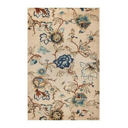 Area Rug: Blue Floral Arrangement Blue 5
