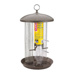 Hiatt Manufacturing - Triple Tube Feeder - Three feeders in one--seed tube, finch tube and screen tube feeders. Each tube holds 1.1 qts (approx 1.4 lbs) of seed. Attract a variety of birds to feed together. Feeder tray to catch fallen seeds and shells, plus built-in drainage.