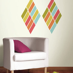 New 2014 Wall Art Kits - Style your own modern living room with the Pop Art Wall Kit! In a beautiful vivid palette, these peel and stick decals can be arranged in a wonderful array of patterns from a chic diamond print to a your own contemporary design.