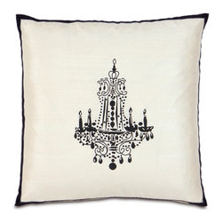 Black Chandelier Embroidered White Pillow - Like the silhouette embroidered pillow, this version has a stylish chandelier. The cool thing about this pillow is the black border: It adds an extra design element to an already fab throw pillow.