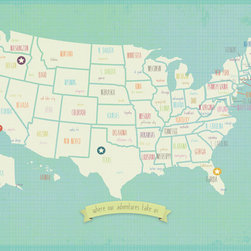 Rebecca Peragine Inc / Children Inspire Design - My Travel's Personalized USA Map 24x18 Wall Art Poster - The Our Travels World and USA maps are the modern must have for raising global children.  Show off your travels with stickers plotting memories of unforgettable family adventures.Creative and unique, just like your family. Use the posters to plan your future trips as well as capture where you've been.  Includes 16 unattached star stickers to highlight past and future travels.