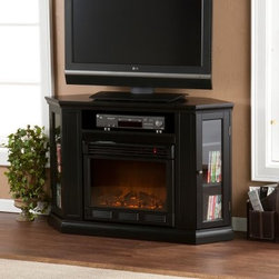 Claremont Convertible Black Electric Fireplace Media Console - The Claremont Convertible Black Electric Fireplace Media Console has a sleek black finish and contemporary look that's sure to enhance any room's decor. It has plenty of space for your DVD player and favorite movies, and the electric firebox uses a standard wall outlet for convenience. Long-lasting LEDs give you the look of a flickering fire, and the heater delivers gentle warmth while keeping the fireplace's front cool to the touch.Additional Features:Supports flat screen TV up to 47 inches and 85 lbs.Media shelves: 8W x 7.5D x 8H inchesComponent shelf: 23W x 13D x 5H inchesCord management hole in backPoplar, MDF, and particle board constructionWood veneersUses about same energy as coffee makerLong-life LED lights produce realistic flame effectSafety thermal overload protectorNo combustion, emissions, or pollutantsGlass stays cool to the touch100% efficient design; low operating costsSome assembly requiredAbout SEI (Southern Enterprises, Inc.)This item is manufactured by Southern Enterprises or SEI. Southern Enterprises is a wholesale furniture accessory company based in Dallas, Texas. Founded in 1976, SEI offers innovative designs, exceptional customer service, and fast shipping from its main Dallas location. It provides quality products ranging from dinettes to home office and more. SEI is constantly evolving processes to ensure that you receive top-quality furniture with easy-to-follow instruction sheets. SEI stands behind its products and service with utmost confidence.