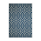 Momeni - Baja Collection Navy BAJ-3 Rug by Momeni - Bold and exciting colors patterns allow trend-conscious customers to create their ultimate indoor/outdoor oasis.  Baja thrives on simple graphic patterns with a refreshing twist of runway fashion and lively color palettes.  Machine-made in Egypt of 100% polypropylene and approved for use outdoors.