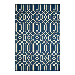 Momeni - Baja Collection Navy - BAJ-3 - Rugs by Momeni - Bold and exciting colors patterns allow trend-conscious customers to create their ultimate indoor/outdoor oasis.  Baja thrives on simple graphic patterns with a refreshing twist of runway fashion and lively color palettes.  Machine-made in Egypt of 100% polypropylene and approved for use outdoors.