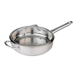 "Berghoff - Berghoff Boreal SS Covered Deep Skillet 10"" - 10"" deep skillet  features include stylish stainless steel handles, glass cover with stainless steel rim, 3-layer capsule base and is suitable for all heat sources."