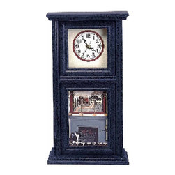 Renovators Supply - Clocks Blue Crackle Wood Mission Wall Clock | 67116 - Mission Clock. Wooden clock with a lovely burgundy crackle finish inset with a country scene by artist Paul Jamieson. Quartz movement and a second hand. AA battery not included. Measures 9 1/4 in. wide x 16 1/2 in high.