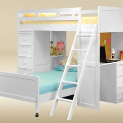 White Loft Bed with Desk - The white bead board student twin loft bed is a great way to save space while maintaining an attractive look for a kids room.  This student loft bed features a twin-size upper bunk, a movable twin-size lower bed, a built-in drawer chest, and a built-in desk with drawers. This student loft bed is made of bead board panel, birch wood in white finish.