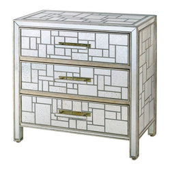 TwentyOne7 - Birkhall Chest of Drawers - Anything but plane geometry! This wooden dresser detailed in full with mirrored glass is a showpiece for your bedroom or other favorite setting.