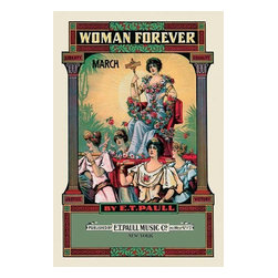"""Buyenlarge.com, Inc. - Woman Forever: March- Gallery Wrapped Canvas Art 12"""" x 18"""" - Edward Taylor Paull (1858 - 1924) was a prolific publisher of sheet music marches. His songs gained acclaim more from the cover art of the sheet music than often from the lyrics and tune."""