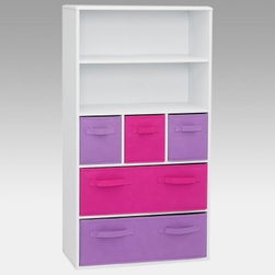 4D Concepts Pastel Storage Bookcase - Pink - We put organized and kid's room in the same sentence with the jaunty 4D Concepts Pastel Storage Bookcase - Pink. What a perfect storage unit for a girl's room. A durable vacuum formed surface with gently rolled edges makes this large storage bookcase a functional and fun addition. The two upper shelves offer neat display space for kid's awards games pictures or knick-knacks.The three foldable medium-sized pink and lavender canvas drawers are great for holding your games controllers clothes and other cool stuff. The two large canvas drawers at the bottom provide additional storage for clothes school supplies or toys. Drawers rest gently on the shelf and have canvas handles on both sides of the drawer to pull out of the unit or pull completely out to transport to another room in the house. Constructed of wood composite and highly durable PVC laminate. Clean with a dry non-abrasive cloth. Assembly required.About 4D Concepts4D Concepts is a manufacturer of fine homewares located in California. They specialize in kitchen cabinetry cupboards baker's racks as well as bathroom furniture. Using materials such as metal select woods and premium hinges and hardware their products whether they're entertainment centers or a simple plant stand are designed to endure years of continuous use.