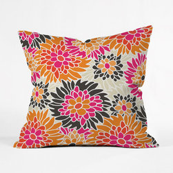 Bolded Bloom Outdoor Throw Pillow - Fashioned from water- and mildew-proof woven polyester, this vibrant outdoor throw pillow mixes a bold floral pattern with rich summer shades of bright candy-orange, hot pink, dark and light plant-greens, with a vivacious white outlining. Custom made for every order and complete with a concealed zipper closure and double-sided print, the Bolded Bloom Outdoor Throw Pillow is easy to carry and clean, and ready to accompany you on your outdoor excursion.