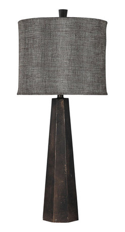 """Surya - Surya Hexagonal Tower Table Lamp - Surya's Tower table lamp elicits compelling industrial form in modern interiors. Topped by a textured linen shade, this fixture's hexagonal, aged bronze base creates dramatic geometric allure. 15.5""""W x 12""""D x 16""""H; Resin; Bronzed linen shade; Brown cord; Three-way metal turn knob; Decorative finial; Accepts one 100W max bulb (not included)"""