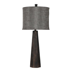 "Surya - Surya Hexagonal Tower Table Lamp - Surya's Tower table lamp elicits compelling industrial form in modern interiors. Topped by a textured linen shade, this fixture's hexagonal, aged bronze base creates dramatic geometric allure. 15.5""W x 12""D x 16""H; Resin; Bronzed linen shade; Brown cord; Three-way metal turn knob; Decorative finial; Accepts one 100W max bulb (not included)"