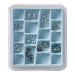 Neatnix - Jewelry Stax, 18 Compartment, Light Blue - Elegantly organize with our Neatnix Jewelry Stax 18 Compartment tray. Each tray is made with a tarnish-resistant, velvety liner to protect your valuables. The 18 Compartment tray is ideal for earrings, rings, and other smaller items. This modular tray stacks with other Jewelry Stax trays and slides for easy access to other trays. Each tray comes with a dust cover to minimize maintenance.
