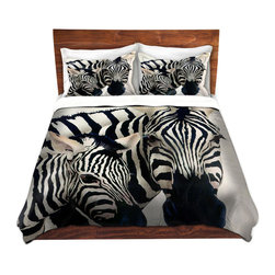 DiaNoche Designs - Duvet Cover Twill - Madonna of the Serengeti - Lightweight and soft brushed twill Duvet Cover sizes Twin, Queen, King.  SHAMS NOT INCLUDED.  This duvet is designed to wash upon arrival for maximum softness.   Each duvet starts by looming the fabric and cutting to the size ordered.  The Image is printed and your Duvet Cover is meticulously sewn together with ties in each corner and a concealed zip closure.  All in the USA!!  Poly top with a Cotton Poly underside.  Dye Sublimation printing permanently adheres the ink to the material for long life and durability. Printed top, cream colored bottom, Machine Washable, Product may vary slightly from image.