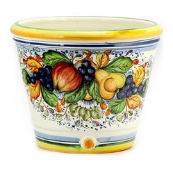 Artistica - Hand Made in Italy - FRUTTA: Round cachepot (Medium) - FRUTTA Collection: Define a genuine Tuscan look with this exclusive Artistica pattern.