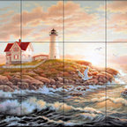 The Tile Mural Store (USA) - Tile Mural - Dawning Light  - Kitchen Backsplash Ideas - This beautiful artwork by Judy Gibson has been digitally reproduced for tiles and depicts a lighhouse scene.  Our lighthouse tile murals and nautical themed decorative tiles are perfect as part of your kitchen backsplash tile project or your tub and shower surround bathroom tile project. Lighthouse images on tiles add a unique element to your tiling project and are a great kitchen backsplash idea. Use a lighthouse scene tile mural for a wall tile project in any room in your home where you want to add interest to a plain field of wall tile.