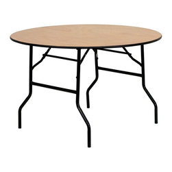 Flash Furniture - 48 in. Round Folding Banquet Table - Thick plywood top with clear coated top. Black t mold edge band. Black powder coated wishbone legs. 18 gauge steel legs. Non marring foot caps. Supplier warranty: Our products have a 2 year warranty for parts. This warrants against defects in manufacturing. If the products are used excessively (more than 8 hours/day), and have excessive weight (over 225 lbs.) applied, the warranty is void. New parts will be sent out, or the item will be replaced at our discretion.. Made from steel and wood. No assembly required. 48 in. Dia. x 30.25 in. H