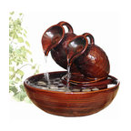 """Welland - Welland Two Pots Pouring Ceramic Tabletop Fountain - This tabletop fountain has a natural and calming quality to it. Water trickles out of two pots and burbles over ceramic adorned with decorative pebbles. The fountains' gently flowing waters provide a calming effect as they soothe nerves and restore body, mind and spirit.  Dimension: 8.5""""H x 7""""W x 7""""D.   Made from 100% Genuine ceramic"""