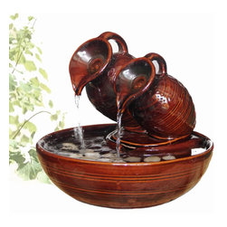 "Welland - Welland Two Pots Pouring Ceramic Tabletop Fountain - This tabletop fountain has a natural and calming quality to it. Water trickles out of two pots and burbles over ceramic adorned with decorative pebbles. The fountains' gently flowing waters provide a calming effect as they soothe nerves and restore body, mind and spirit.  Dimension: 8.5""H x 7""W x 7""D.   Made from 100% Genuine ceramic"