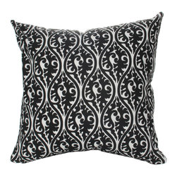 Elisabeth Michael - Elisabeth Michael Kimono Black Throw Pillow - Kimono CoolFall under the mesmerizing spell of the Kimono Black Throw Pillow from Elisabeth Michael. This chic accent pillow is crafted from fine cotton fabric and comes with feather-down fill for soft, comfortable support. Serpentine curves in a black hue surround intricate scroll motifs. Toss it onto your sofa for a transitional touch, or add it to any space for a worldly feel. Now that's some real design magic.Feather-down fill