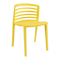 Curvy Dining Side Chair - Indulge in no-frills, straightforward contemporary style with this modern multi-purpose chair. Made from heavy-duty molded plastic this chair was built to last. Eye catching and comfortable, this reproduction brings fashion and flavor to your space.