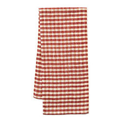 Origin Crafts - Khadhi cotton tea towels (gingham check red), set of 2 - Khadhi Cotton Tea Towels (Gingham Check Red), Set of 2 The Khadhi collection of refined linens embodies a nostalgic vintage French style. Because Khadi cotton fabric is entirely handmade ? from the spinning to weaving stage, it has a natural, earthy look and feeling. At the same time, it?s understatedly chic and these Khadhi tablecloths, napkins and handkerchiefs are perfect for outdoor dining, complementing a rustic breakfast table or contrasting and softening a modern dining room setting. A Caravan exclusive. Each 100% cotton tea towel is entirely handmade and yarn dyed for a natural texture. Easy care and practical: machine washable, ironing is optional. Dimensions (in):20x30 By Couleur Nature - Couleur Nature is a wholesaler of fine, French-inspired Indian woodblock-printed and vintage linens. Couleur Nature?s linens and home accessories are versatile and can be used for formal or casual table settings year-round, as well as the every day. Their distinct but wide appeal makes them ideal for almost any occasion, decor or personal style. Usually ships in three business days. Our linens are handmade: slight variations are natural and make each piece unique.