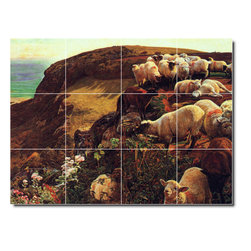 Picture-Tiles, LLC - On English Coasts Tile Mural By William Hunt - * MURAL SIZE: 12.75x17 inch tile mural using (12) 4.25x4.25 ceramic tiles-satin finish.