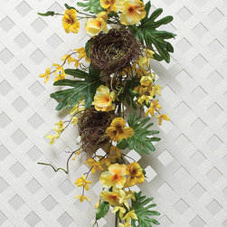 ZiaBella - Pansy Forsythia Nest Door Bough - With a colorful design, this evergreen door bough brings a serene flourish to spaces in need.   13'' W x 29'' H Faux silk / twig Imported