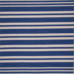 Jaipur Rugs - Flat Weave Stripe Pattern Blue Wool Handmade Rug - PV46, 9x12 - Bold color is the name of the game with Pura Vida. This beautiful collection of durable, reversible flat-woven dhurries combines the classic simplicity of linear patterns with a decidedly modern palette for a look that's at once casual and sophisticated.