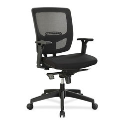 Lorell - Lorell Executive Mesh Adjustable-height Mid-back Chair - Black Seat - Black Back - Executive mid-back chair offers a breathable mesh back, height-adjustable lumbar support and upholstered cushioned seat to enhance your comfort. The multifunction arms adjust in height and width. The soft polyurethane arm pads slide into a position that suits your needs with four locking positions. Functions include pneumatic seat-height adjustment, 360-degree swivel, tilt and tilt tension. Black, five-star nylon base is equipped with smooth-rolling casters for easy mobility. Weight capacity is 250 lb. Mid-back chair meets or exceeds BIFMA standards.