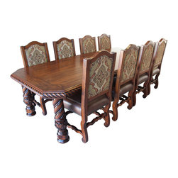 Haak Designs - Old World Dining Set, Medium Pine - Our Old World Dining Set is the perfect compliment to your rustic home or country side retreat. The custom designed dining table features a rope detail inlaid into the edge of the table top, and the legs have the same rope detail with an acanthus carved base. This set features 8 elegant rustic side chairs with our own Damask fabric chair backs and antique chestnut stitched seats with nail head trim. The table and chairs are hand made of solid knotty alder, and are available in a variety of finishes. Shown in Medium Pine. All of our furniture is hand made in our shop in Tucson, Arizona.