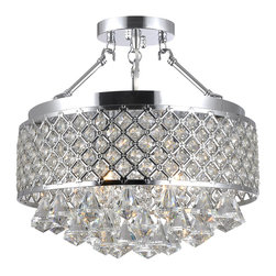 Candice Chrome and Crystal Semi Flush Mount Chandelier -