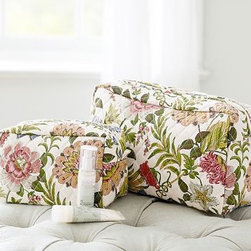 "Gwyneth Palampore Cosmetic Bags, Set of 2, Multi - A tropical floral print transforms these makeup pouches into stylish bath accents. Small: 8.5"" wide x 4.75"" deep x 5"" high Large: 13"" wide x 5"" deep x 7.25"" high Exterior is made of 100% quilted cotton. Interior is lined with Marlo Print cotton and coated with leakproof polyurethane. Interior elastic pocket on one side. Zipper closure. Set of 2, one of each size. Monogramming is available at an additional charge. Spot clean. Imported."