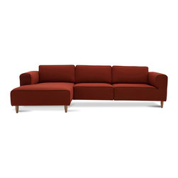 Bryght - Derby Cinnamon Left Sectional With Chaise - Go vibrant with the Derby Collection. Generous proportions in a fiery hue, the Derby sectional exudes warmth and luxury while ensuring a comfortable lounging spot for those endlessly lazy evenings