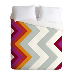 DENY Designs - DENY Designs Karen Harris Modernity Solstice Warm Chevron Duvet Cover - Lightwei - Turn your basic, boring down comforter into the super stylish focal point of your bedroom. Our Lightweight Duvet is made from an ultra soft, lightweight woven polyester, ivory-colored top with a 100% polyester, ivory-colored bottom. They include a hidden zipper with interior corner ties to secure your comforter. It is comfy, fade-resistant, machine washable and custom printed for each and every customer. If you're looking for a heavier duvet option, be sure to check out our Luxe Duvets!