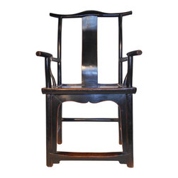 Chinese Antique Hebei Scholars Chair - Around 80 years old this Elmwood arm chair is used by Judges, scholars and the heads of families now and in Ming times in China. They are Handmade of Solid Elm wood and refurbished in China using old world Chinese wood joinery techniques and finished in a black lacquer. These chairs are usually sold in pairs but at times individually. Because these are old no two are the same but all are similar and photos upon request can be provided. We collected these in northern China and have only a limited supply. Simple Ming feet, ox horn top, with leg stretchers provides a strong sitting chair with rich black antique patina. This elegant chair will add an Asian flair to any rooms decor. Use a pair with a table in the middle to create a sitting area.