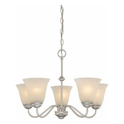 Volume Lighting - Volume Lighting V2265 Hammond 5 Light 1 Tier Chandelier with Alabaster Glass Sha - Five Light 1 Tier Chandelier with Alabaster Glass Shade from the Hammond CollectionDelicate and enchanting, this 5 light chandelier features 1 tier and charming alabaster glass.Features: