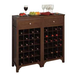 Winsome Wood - Winsome Wood Modular Wine Cabinet with Antique Walnut Finish X-83649 - This stately modular wine cabinet holds 24 bottles. Add other unit and crate a larger wine storage.
