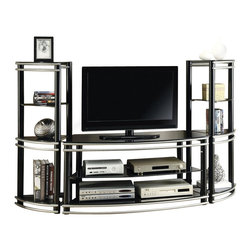 Coaster - Coaster Demilune Entertainment Center in Black and Silver - Coaster - Entertainment Centers - 7007223KIT - Add a great accent to accommodate your TV with this three-piece demilune entertainment wall unit set. The unique style of the pieces include black color frame sand horizontal accent bars in a silver finish. The curve front TV stand features two open shelves that provide space for a media components. The matching media towers are pie-shaped to complete the graceful lines of the demilune shape. Each tower offers three shelves for displaying decorative accents and storing your media collection.