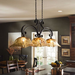 Uttermost - Uttermost Vetraio Island/Billiard Fixture in Oil Rubbed Bronze - Shown in picture: Oil Rubbed Bronze. Heavy hand made glass is held in classic European iron works giving these pieces a contemporary quality - with strong traditional appeal as well.