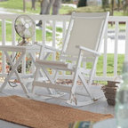 Willow Bay Folding Resin Wicker Rocking Chair - White - Grab a cool glass of lemonade and get ready to enjoy the Willow Bay Wicker Rocking Chair in White. The seat features tightly woven all-weather resin wicker for a comfortable enjoyable sit. Its clean white finish will give any porch a fresh appealing look. It's easy to clean too - just wipe it down with a damp cloth and some soapy water. This chair folds for easy storage.